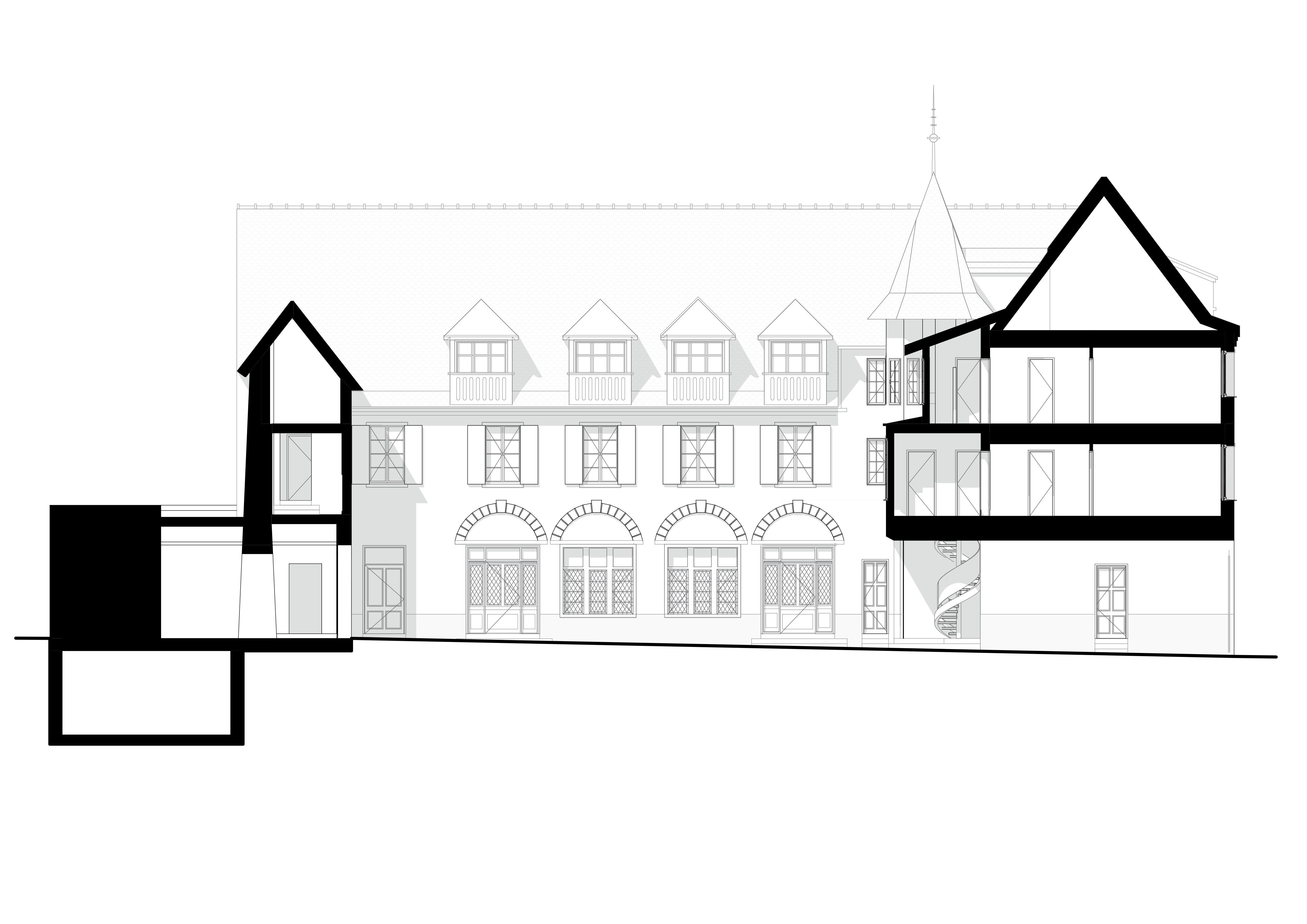 GRDN-F+F-02 facade and section through court